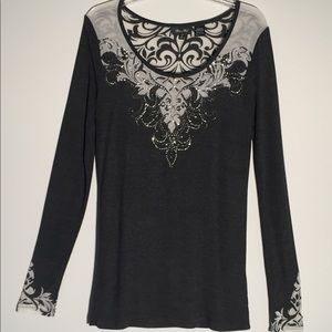 Miss Me Embellished Long Sleeved Tee Size L